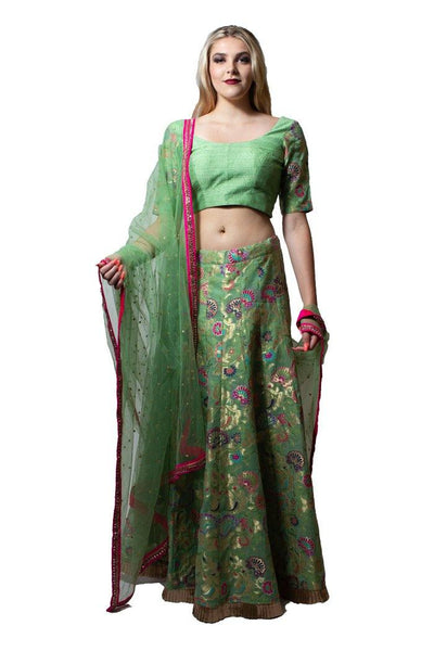 Mint Green Brocade Lehenga Choli