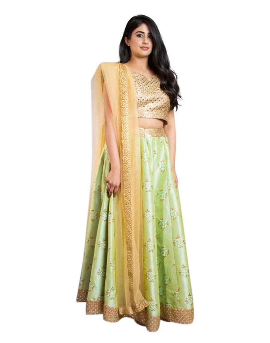 Rent Pista Green and Gold Lehenga Choli-Women-Glamourental