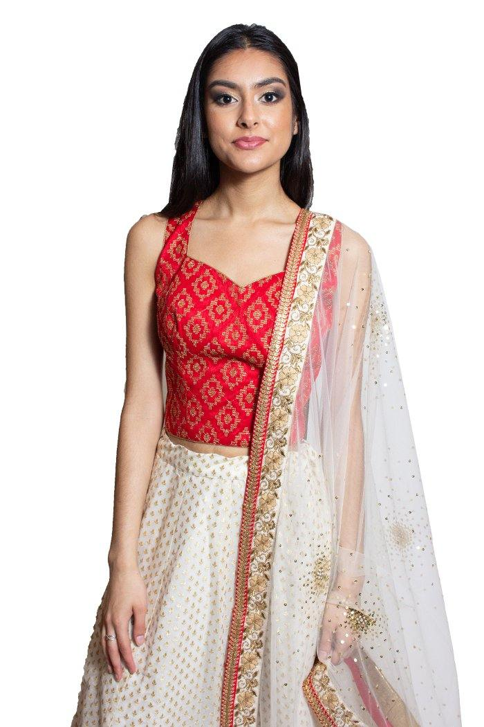 Rent Red & Ivory Lehenga Choli-Women-Glamourental