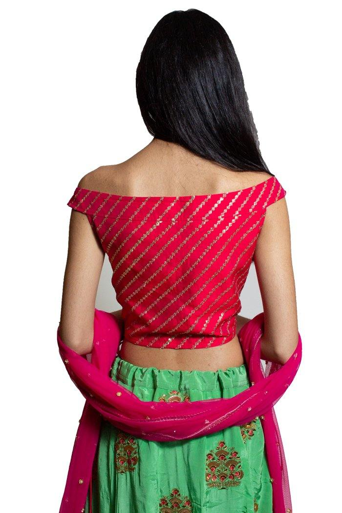 Red & Mint Green Lehenga Choli