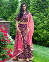 Rent Wine Color Bridal Lehenga Choli - GlamouRental-Women-Glamourental