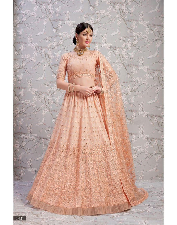 Rent Peach Bridal Lehenga Choli-Women-Glamourental