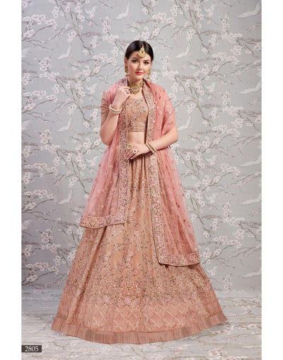 Rent Rose Bridal Lehenga Choli-Women-Glamourental