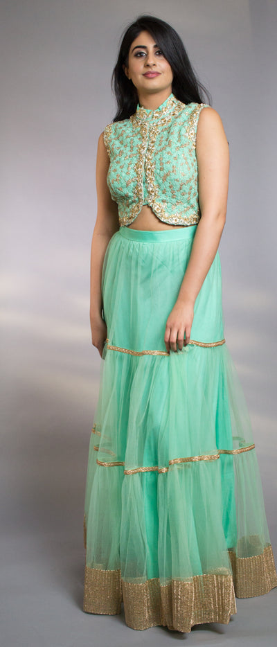Rent Mint Green Embroidered Net Crop Top With Net Lehenga Skirt