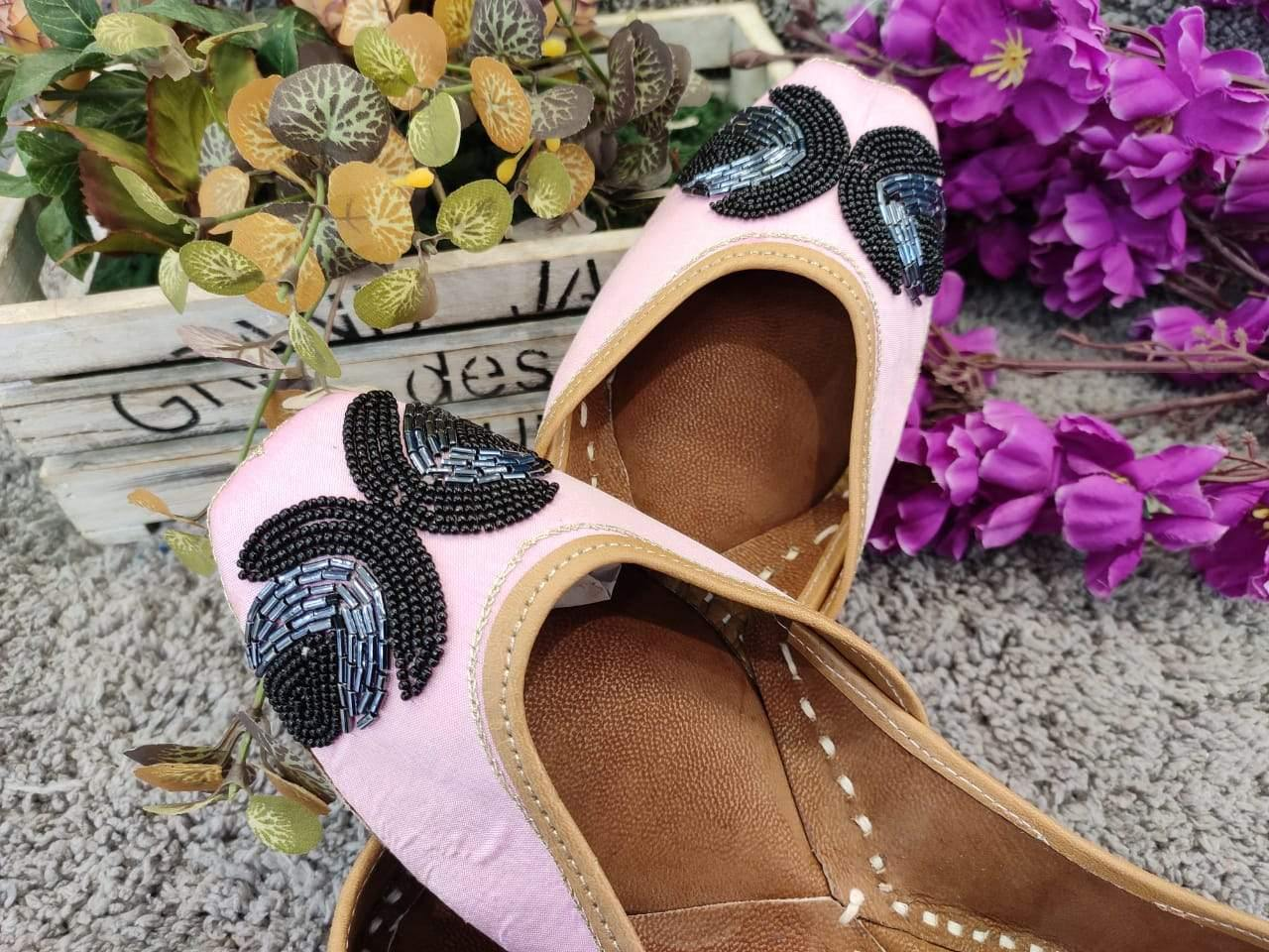 Pink and Black  Sequins Embroidered Juttis