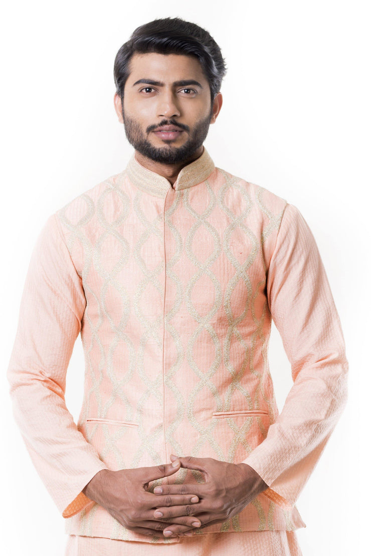 Peach Stitch Line Kurta with  Peach Zadi Waist Coat.