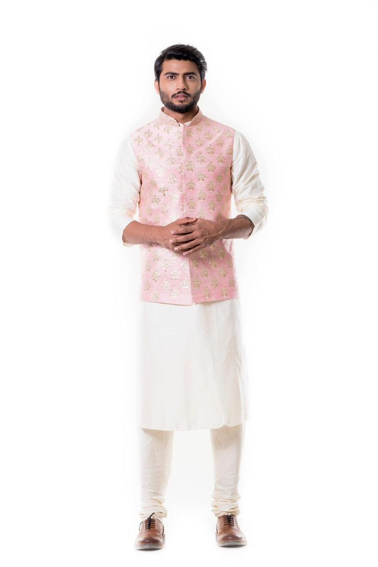 Cream Kurta with Zadi Embroidered Pink Waist Coat.-Men-Glamourental