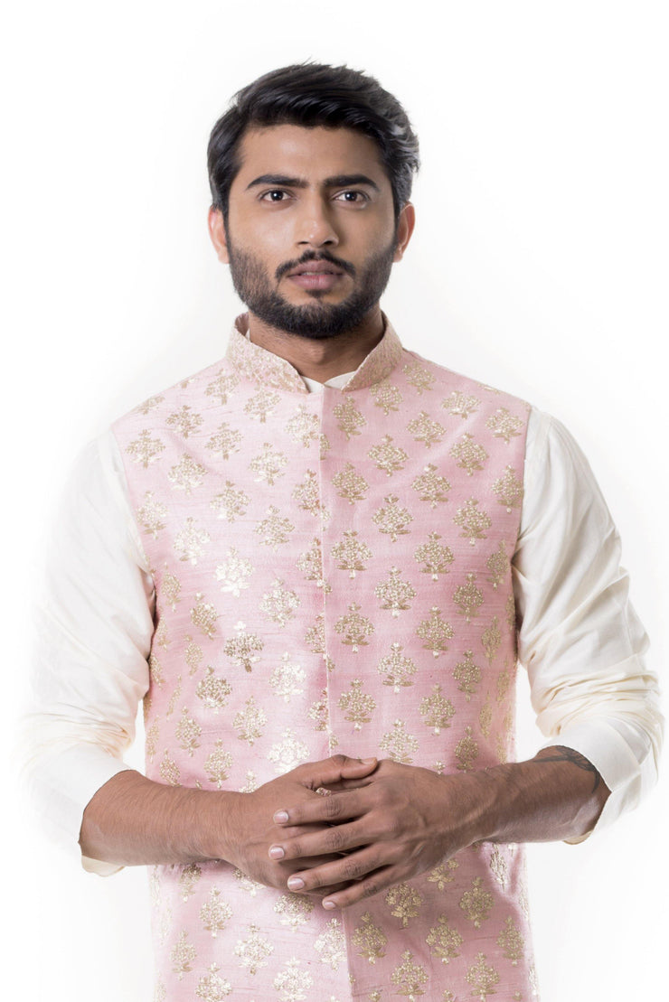 Cream Kurta with Zadi Embroidered Pink Waist Coat.