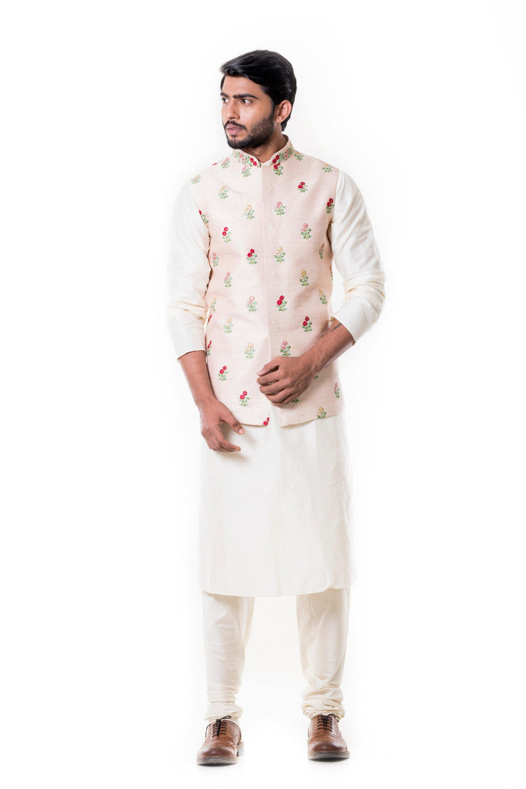 Cream Kurta with Light Peach Waist Coat Set.-Men-Glamourental
