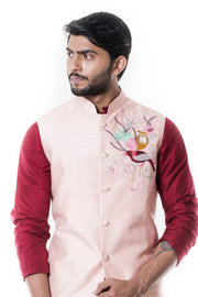 Maroon Cowl Kurta and Grey Churidar with Pink Waist Coat Set.