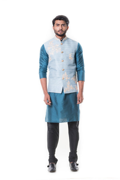 Blue kurta and Black Churidar with Powder Blue Waist Coat Set.