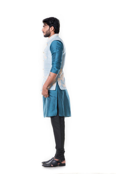 Blue kurta and Black Churidar with Powder Blue Waist Coat Set.-Men-Glamourental
