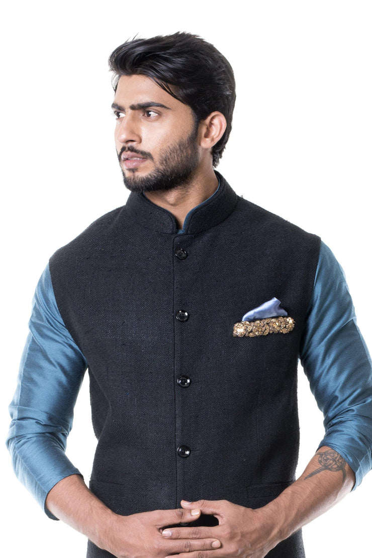 Blue Kurta With Black Waist Coat Set