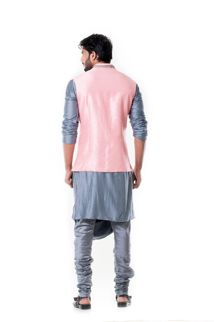 Grey Cowl Kurta with Pink Silk Waist Coat