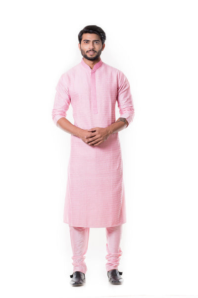 Pink Kurta Set With  Pintucks