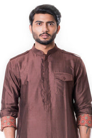 Coffee Pathani Set-Men-Glamourental