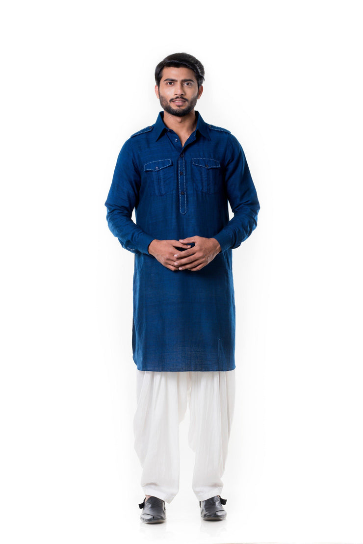 Blue Linen Pathani Set-Men-Glamourental