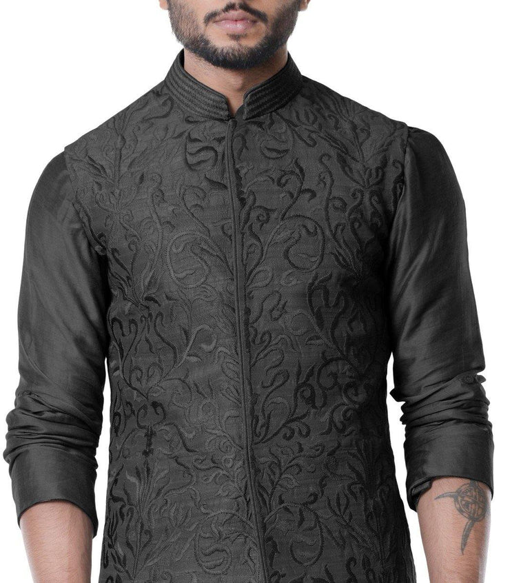 Jade Black Cowl Kurta With Full Embroidered Black Waist Coat Set.