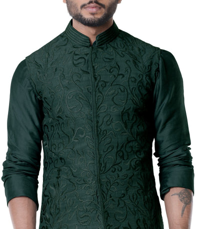 Seaweed Cowl Kurta With Full Embroidered Seaweed Waist Coat Set.-Men-Glamourental