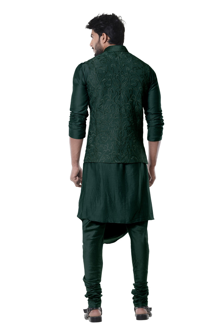 Seaweed Cowl Kurta With Full Embroidered Seaweed  Waist Coat Set.