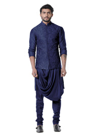 Space Blue Cowl Kurta With Full Embroidered Blue Waist Coat Set.