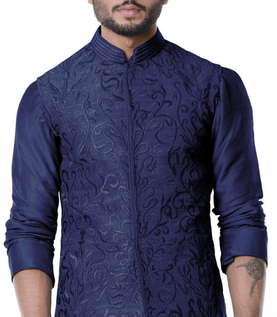 Space Blue Cowl Kurta With Full Embroidered Blue Waist Coat Set.-Men-Glamourental
