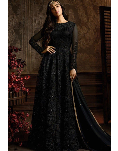Rent Black Net Anarkali Suit-Women-Glamourental