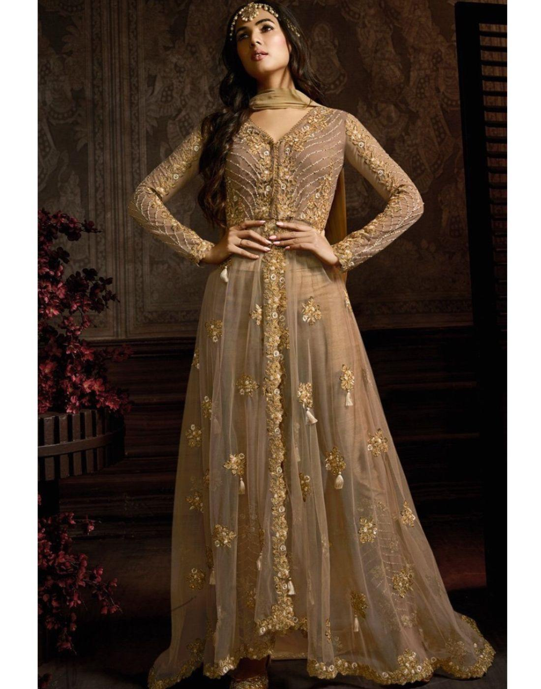 Rent Mocha Net Anarkali Suit-Women-Glamourental