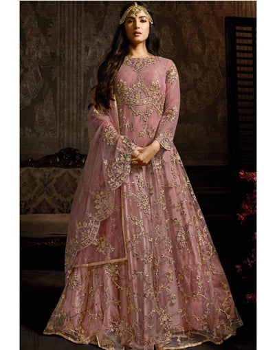 Rent Onion Pink Net Anarkali Suit-Women-Glamourental