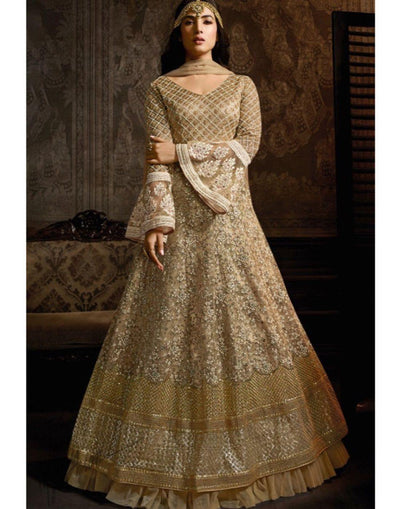 Rent Beige Net Anarkali Suit-Women-Glamourental