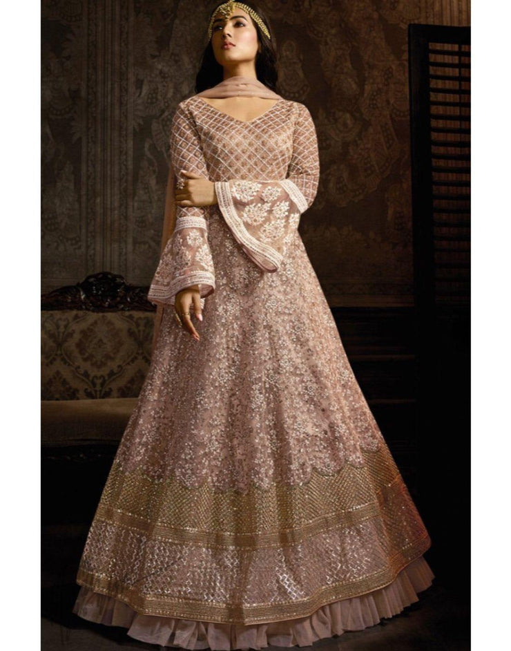 Rent Light Mauve Net Anarkali Suit-Women-Glamourental