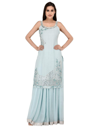Rent Miracolos Georgette Stylish Kurta with Skirt Embroidered Party Dress Light Blue Colour-Women-Glamourental