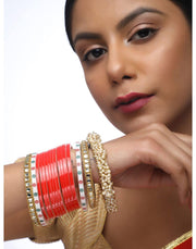 Red Chooda With Kundan Bangles & Heavy Pearl Bangles