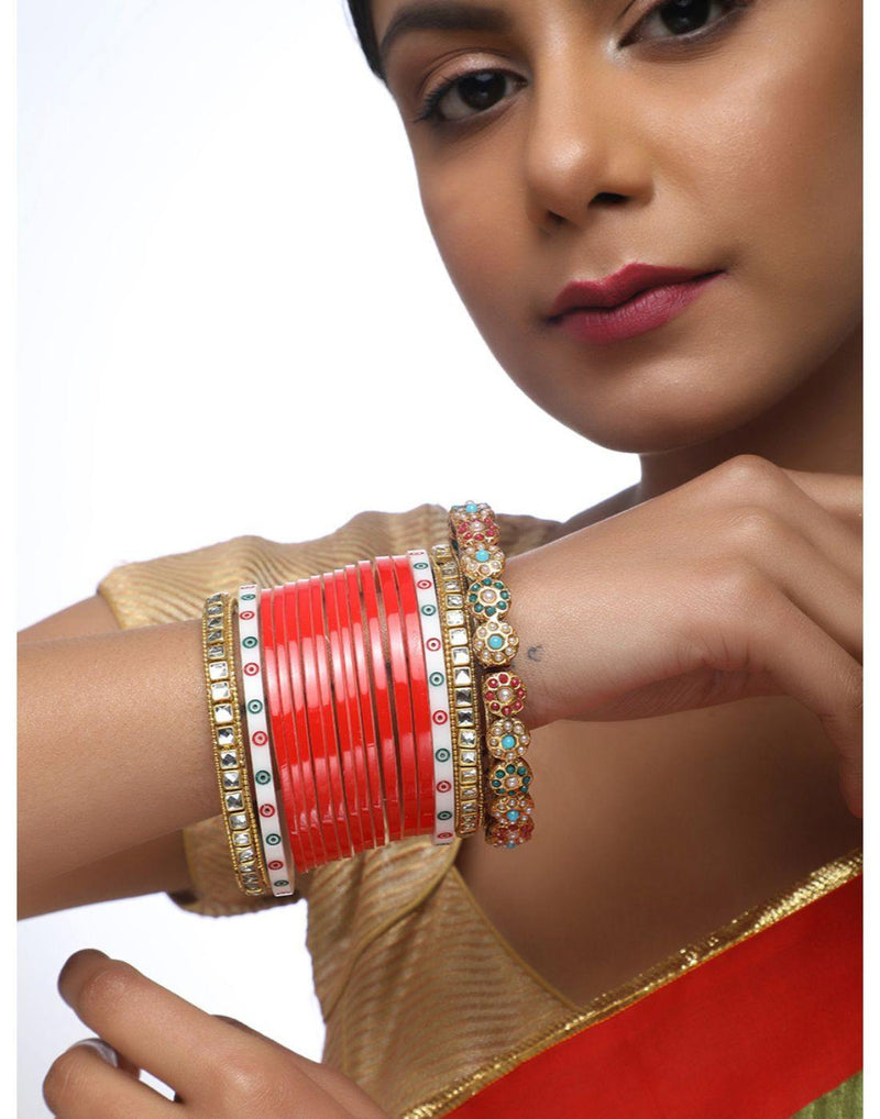 Red Chooda With Kundan Bangles With Meenakari Bangles-Accessories-Glamourental