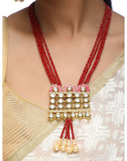 Red Pearl & Kundan Desinger Pendant Neckpiece wWith Earrings-Accessories-Glamourental