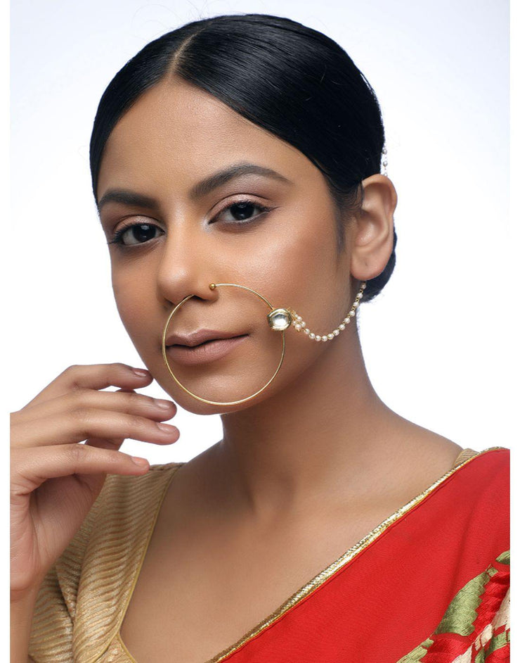 Kundan Naath with two stone and pearl Chain-Accessories-Glamourental