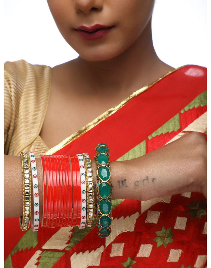Gold Chura With Kundan Bangles & Heavy Meenakari Red Kada-Glamourental-Accessories-Glamourental