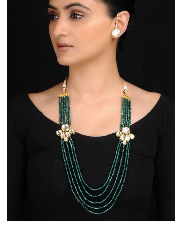 Emerald green Kundan Necklace With Studs-Accessories-Glamourental