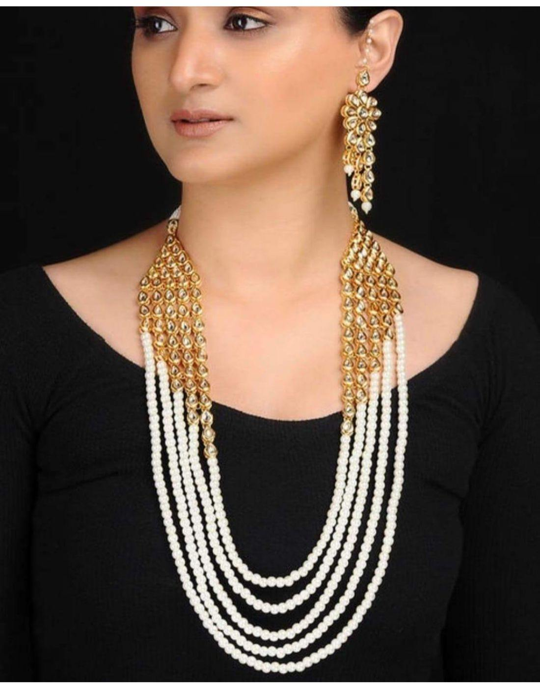 Pearl Necklace With Matching Kundan Earrings-Accessories-Glamourental