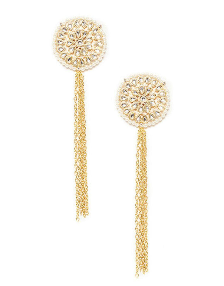 Kundan Studs With Gold Chain-Accessories-Glamourental