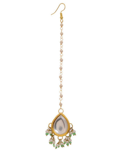 Stone Studd Kundan with greena and white pearl hanging Maang Tikka-Accessories-Glamourental