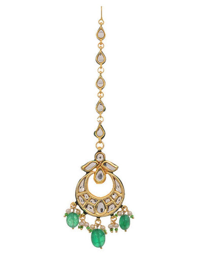 Kundan with Emerald green hanging Maang Tikka-Accessories-Glamourental