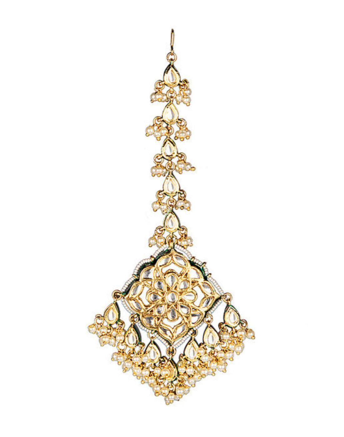 BRASS KUNDAN AND PEARL MAANG-TIKKA IN GOLDEN-Accessories-Glamourental