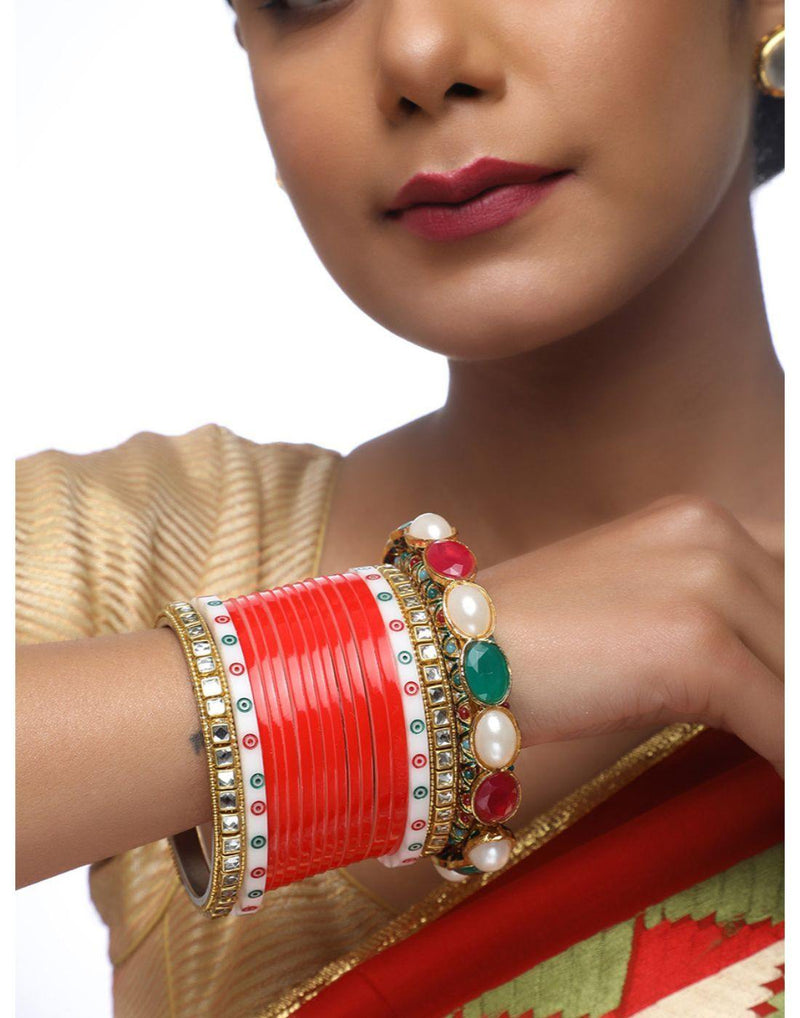 Beautiful Red Wedding Chura With Kundan Bangles-Accessories-Glamourental