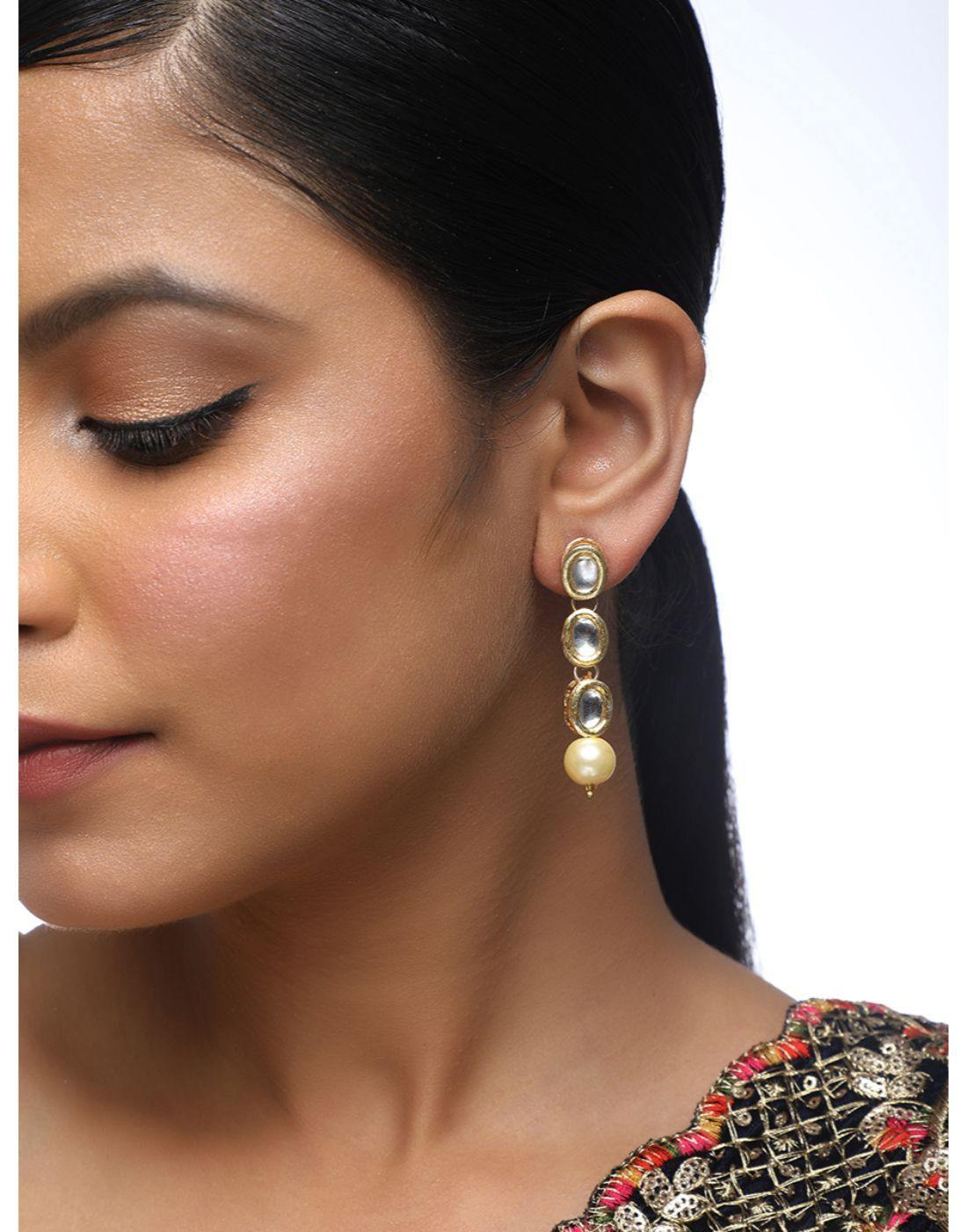 22k Gold Plated Kundan Gold Earrings-Accessories-Glamourental