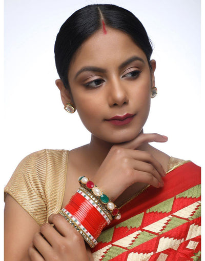 Red Chooda With Kundan Bangles & Heavy Meenakari Pearl Bangles