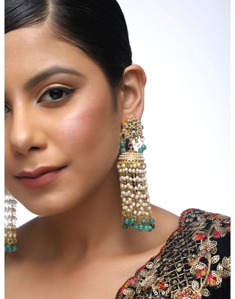 Kundan Latkan Earrings in Gold & Green-Accessories-Glamourental