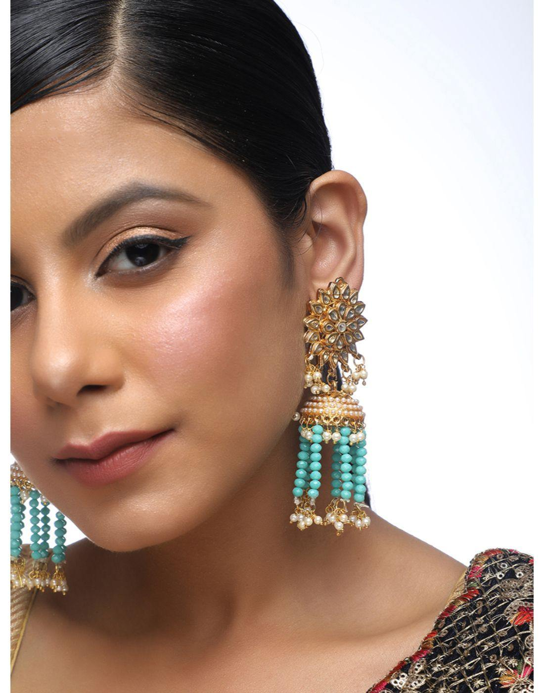 Kundan Jumkhi Earrings with Motifs-Accessories-Glamourental
