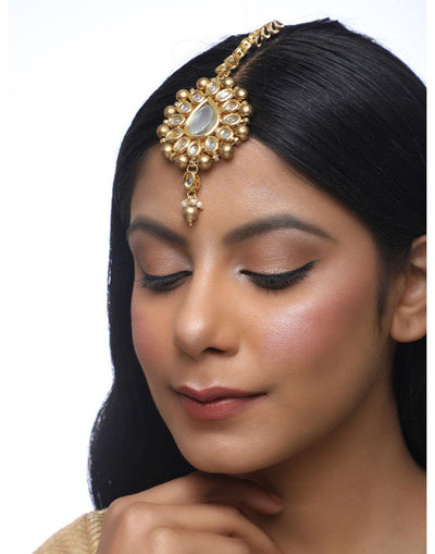 Kundan Maang Tikka-Accessories-Glamourental
