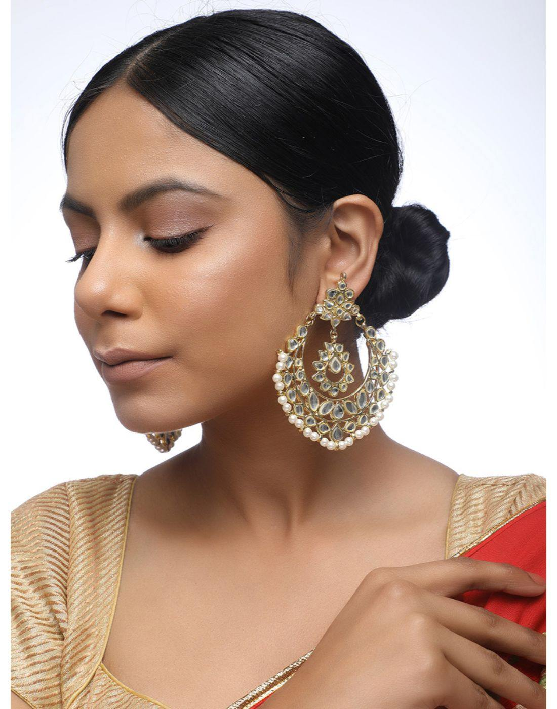 Kundan Hoop Earrings-Accessories-Glamourental